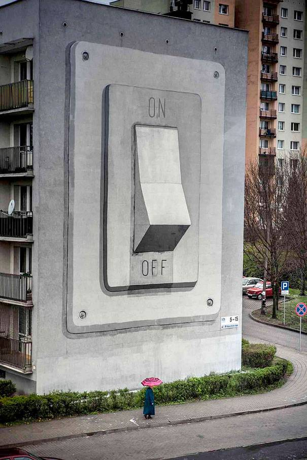 Switch Off This Building Mural | 10 Creative 3D Street Art Wall Murals