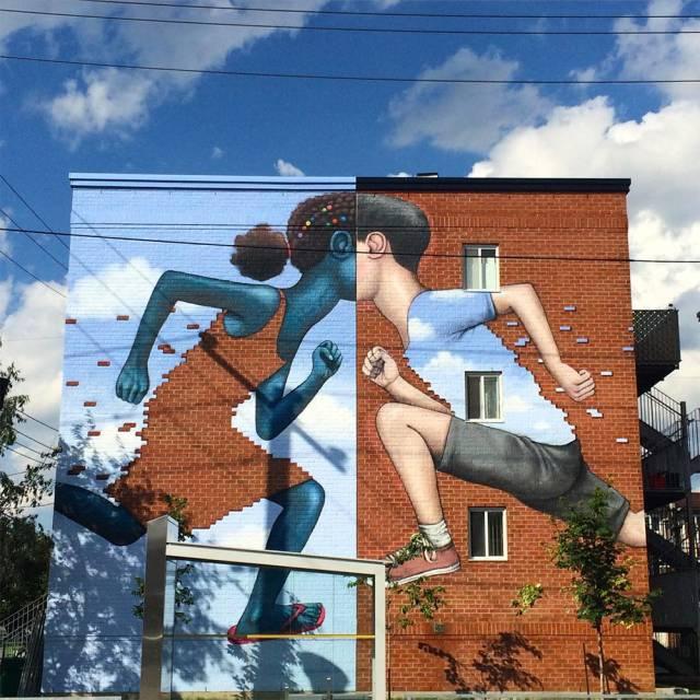 Brick Pixelated Street Mural   10 Creative 3D Street Art Wall Murals