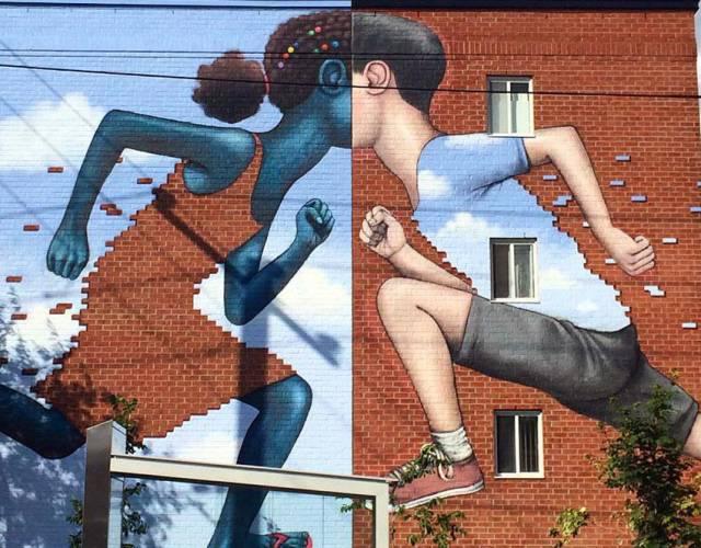 Brick Pixelated Street Mural, By Seth Globepainter   10 Creative 3D Street Art Wall Murals