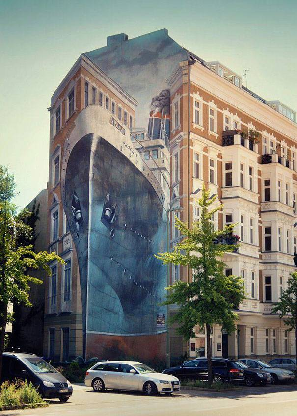 Incoming Ship Mural   10 Creative 3D Street Art Wall Murals