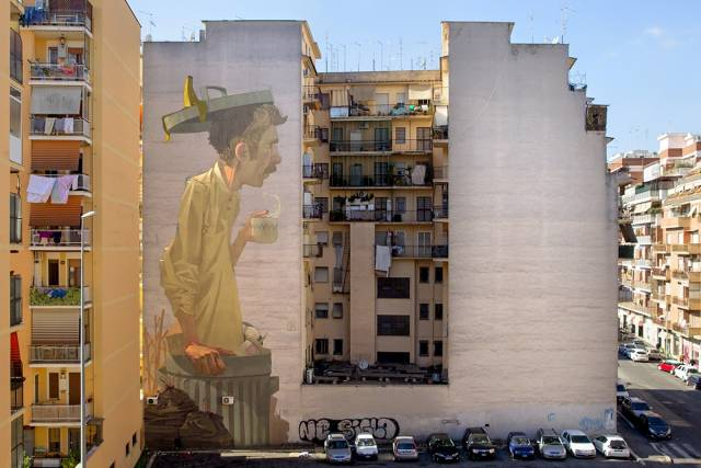 Etam Cru : Building Wall Mural | 10 Famous & Most Popular Street Art Pieces 2014