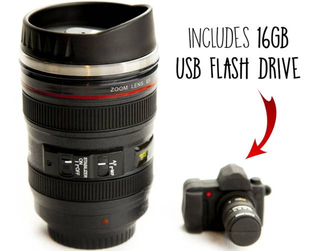 Canon Camera Lens Camera Mug | Top 10 Cool & Creative Best Gifts For Photographers: Funny Camera Gadgets & Accessories Too