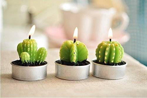 Succulent Green Cactus Candles // 10 Cool & Creative Candle Designs For Love, Romance & Home Decor