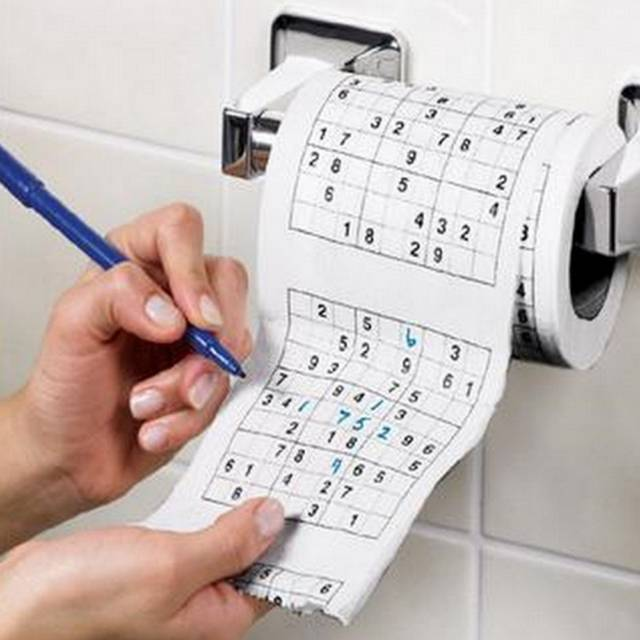Sudoku Puzzle Toilet Paper Game Roll // 10 CREATIVE Bathroom Toilet Games You Can Play While Fighting Constipation