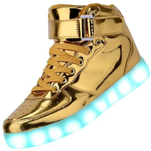 Odema High Top Gold & Silver Light Up Sneakers // 10 LED Shoes That Light Up At The Bottom And Change Colors Like Crazy