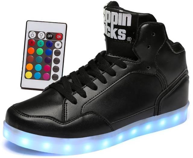 Remote Control Light Up Shoes, Leather // 10 LED Shoes That Light Up At The Bottom And Change Colors Like Crazy
