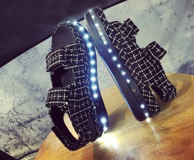 LED Night Light Up Sandals // 10 LED Shoes That Light Up At The Bottom And Change Colors Like Crazy