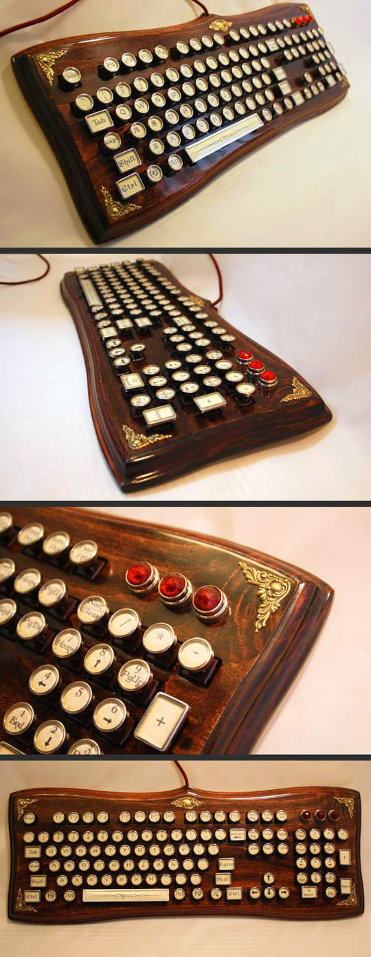 The Diviner Elegant Wooden Steampunk Keyboard // 10 Unique & Cool Computer Keyboards That Will Transform Your Computing Forever