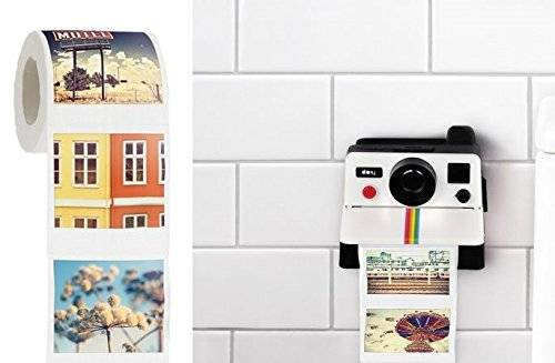 The Polaroid Camera Toilet Paper Holder // 10 UNIQUE Toilet Paper Holder Designs That Will Transform Your Bathroom Forever