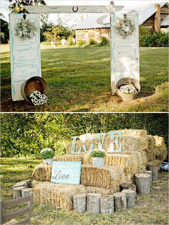 Country Wedding Old Doors With Hay Bales // 10 Rustic Old Door Wedding Decor Ideas For Outdoor Country Weddings
