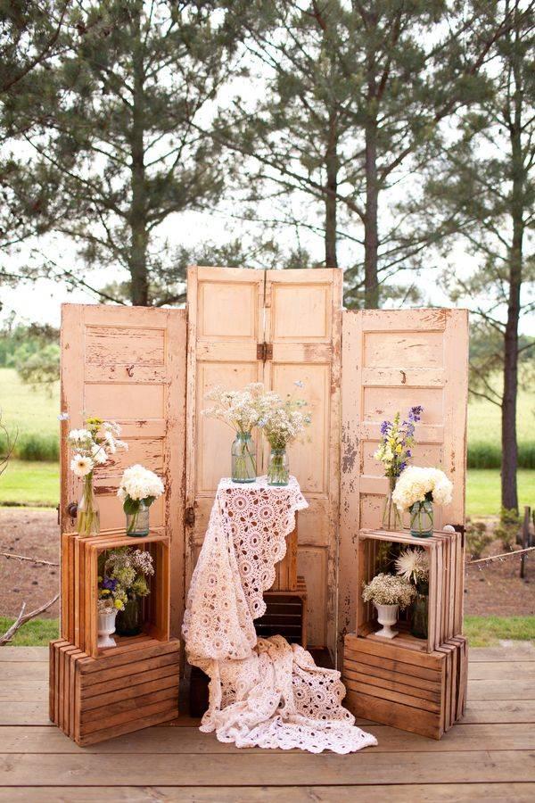 Forest Wedding With Three Doors, Flower Vases & Wooden Crates // 10 Rustic Old Door Wedding Decor Ideas For Outdoor Country Weddings