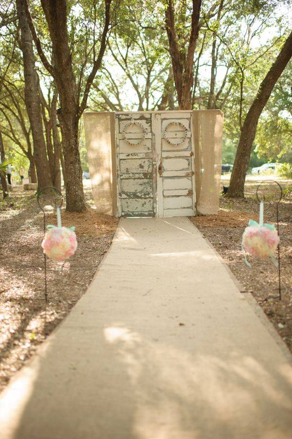 Forest Path Wedding With Closed Rustic Doors // 10 Rustic Old Door Wedding Decor Ideas For Outdoor Country Weddings