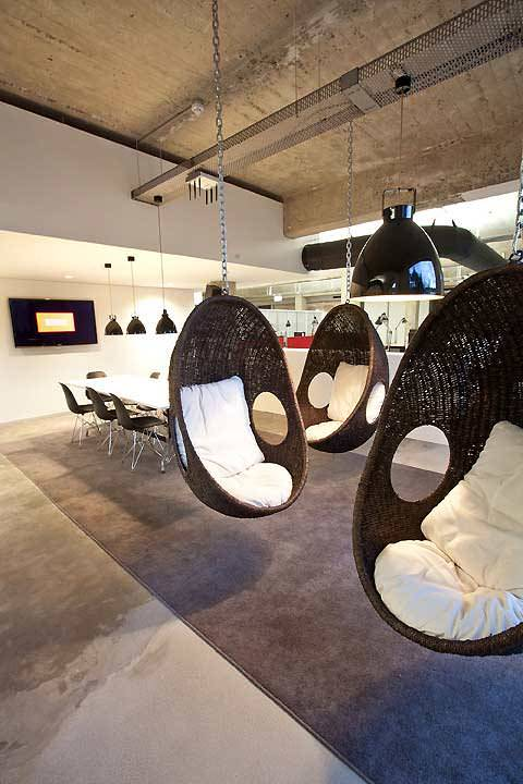 Roof Hanging Egg Chairs // 10 Creative Office Space Design Ideas