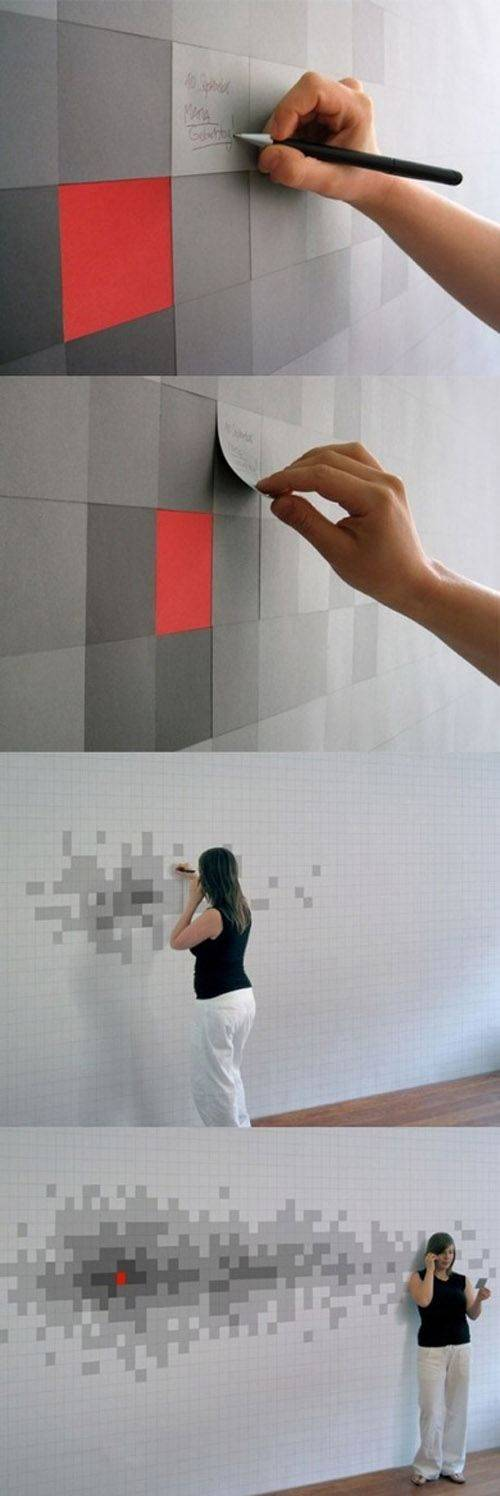 Pixelated Wall Art With Sticky Notes Wallpaper // 10 Creative Office Space Design Ideas