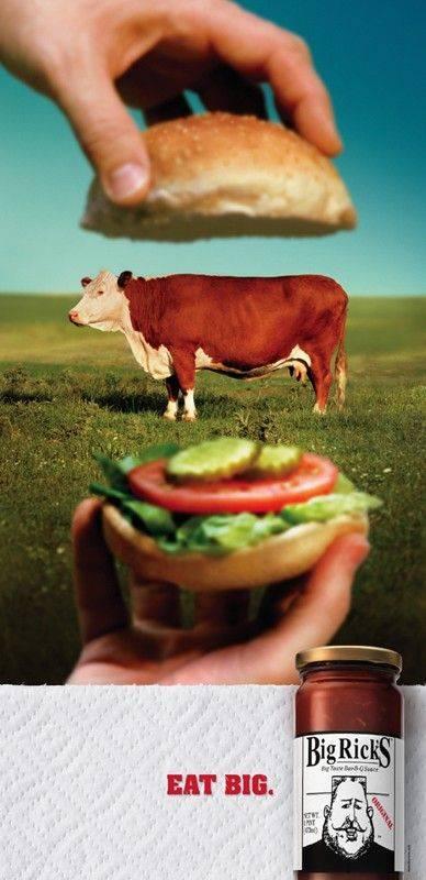 Big Rick's Burger BBQ Sauce Food Print Ads // Creative Print Ad Campaigns & Advertisements