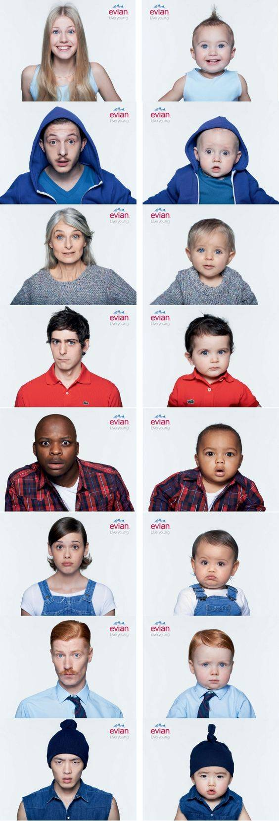 Evian Live Young Adult - Baby Comparison Print Ads // Creative Print Ad Campaigns & Advertisements