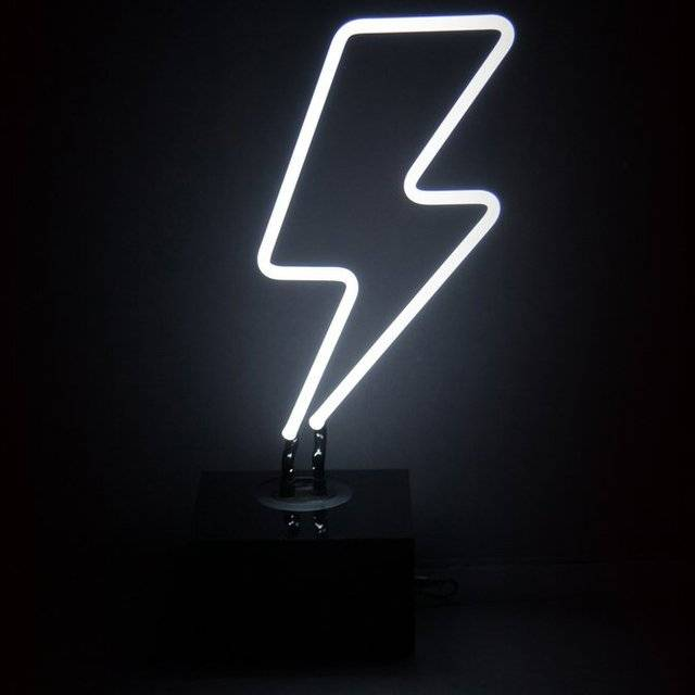 Desktop Lightning Bolt Neon Art Sign // 10 Cool NEON Art Lights That Will Transform Your Walls Forever