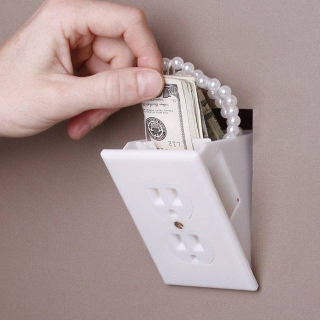 Hidden Wall Secret Diversion Safe Electrical Plug // 10 CREATIVE Secret Safe Box Designs That Will Hide Your Money Like Never Before