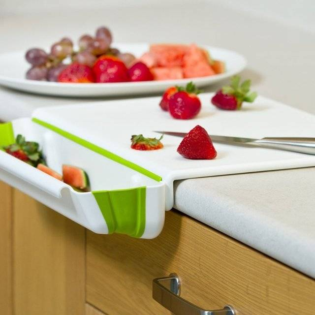 Counter Edge Cutting Board With Collapsible Scrap Bin // 10 BEST Cutting Board Designs That Will Wow Your Guests Like Crazy