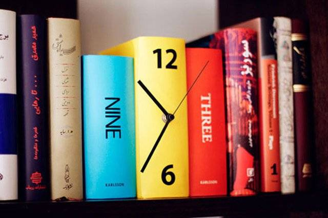 Cool & Creative Table Book Clock // 10 BOOK Furniture Design Pieces That Will Take Your Love Of Reading To New Heights
