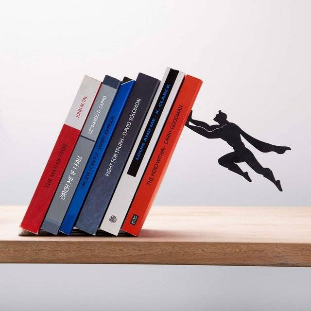 Superman Superhero Bookend // 10 BOOK Furniture Design Pieces That Will Transform Your Reading Forever