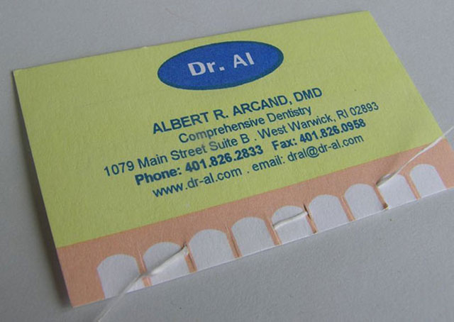 Dental Floss Included Dentist Business Card // 255 Creative & Unique Business Cards Design Inspiration & Ideas
