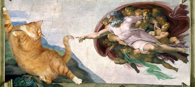 Michelangelo, The Creation of cAt-dam | Fat Orange Ginger Cat Paintings Photobombing Famous Masterpieces
