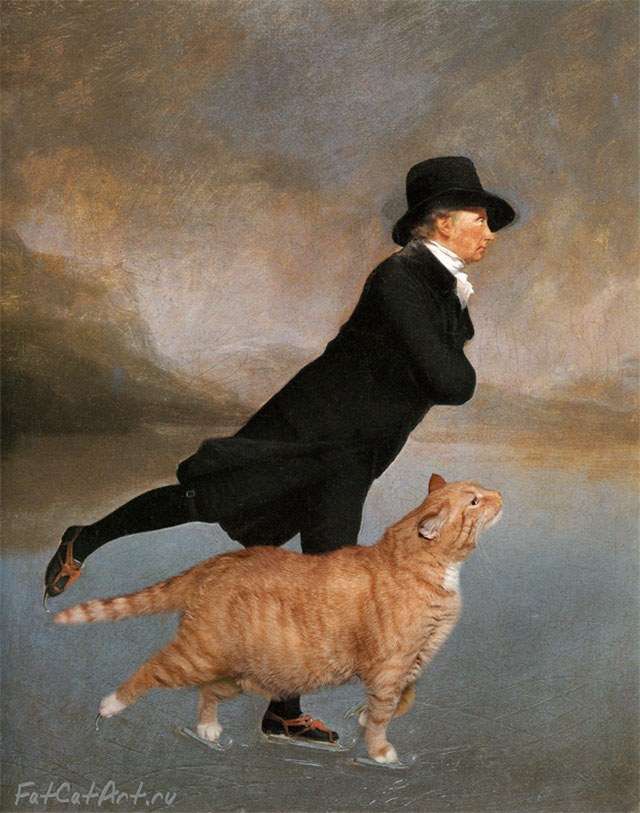 Sir Henry Raeburn, Skating Minister and Skating Cat. | Fat Orange Ginger Cat Paintings Photobombing Famous Masterpieces