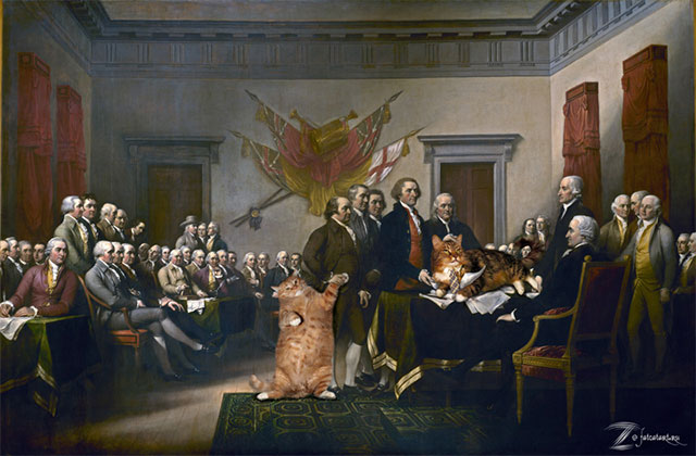 John Trumbull, Declaration of Independence | Fat Orange Ginger Cat Paintings Photobombing Famous Masterpieces