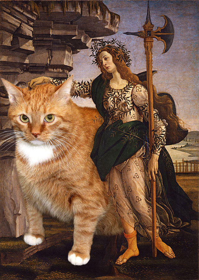 Botticelli, Pallas and the Cat | Fat Orange Ginger Cat Paintings Photobombing Famous Masterpieces