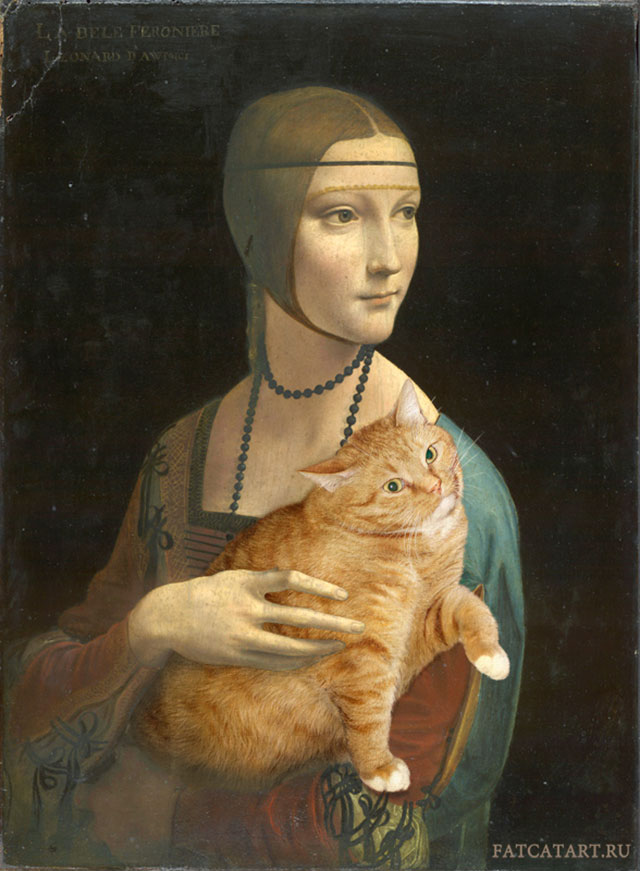 Leonardo da Vinci. Lady with a Cat pretending to be an Ermine | Fat Orange Ginger Cat Paintings Photobombing Famous Masterpieces