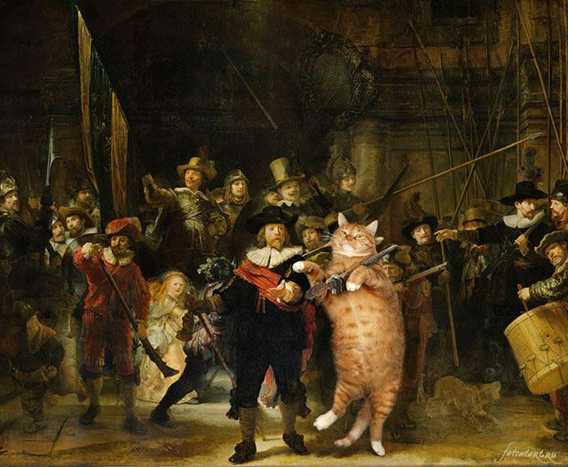 Rembrandt Harmenszoon van Rijn, The Night Watch | Fat Orange Ginger Cat Paintings Photobombing Famous Masterpieces