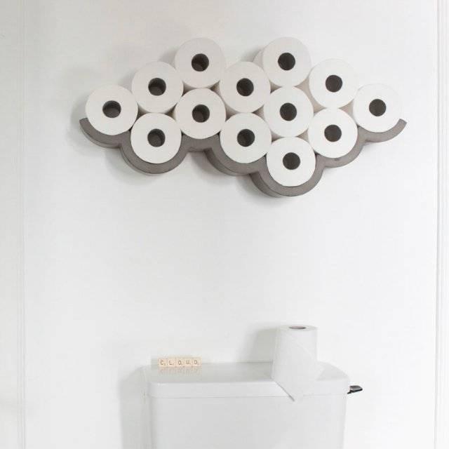 Concrete Cloud Toilet Paper Holder Storage