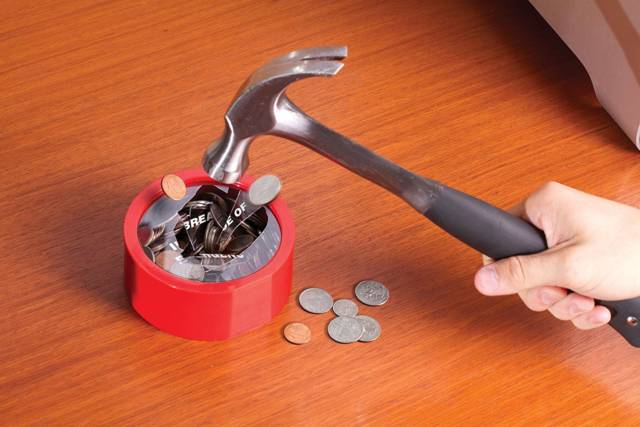 Image result for hammer break in case of emergency piggy bank